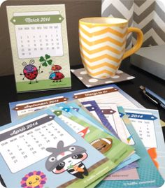Free 2014 Mini Calendars and Things To Do Lists from Hello, Cuteness :)
