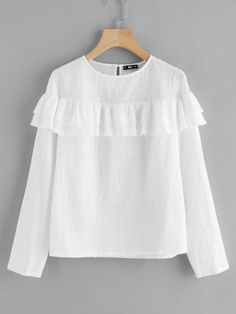 SheIn offers Tiered Flounce Trim Dot Jacquard Top & more to fit your fashionable needs. Teen Fashion Outfits, Modest Fashion, Girl Fashion, Fashion Dresses, Casual Hijab Outfit, Casual Outfits, Cute Outfits, Modest Dresses, Modest Outfits