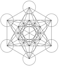 Metatron's Cube - connecting the centers of 13 equal circles forming the orthographic projections of the first 3 platonic solids (double tetrahedron, double hexahedron, and double octahedron)