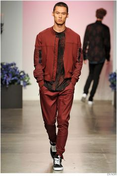 A carefully-quilted jacket paired with strong pants and an amazing t-shirt. More from the En Noir Spring Summer 2015 collection: http://attireclub.org/2014/10/12/review-en-noir-spring-summer-2015-collection/ #menswear #style #fashion #runway