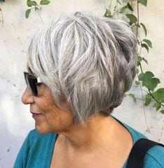 65 Gorgeous Gray Hair Styles Short Layered Gray Bob for Older Women Grey Hair Old, Short Grey Hair, Short Hair Cuts, Short Hair Styles, Short Hair Over 60, Grey Bob Hairstyles, Mom Hairstyles, Older Women Hairstyles, Scene Hairstyles