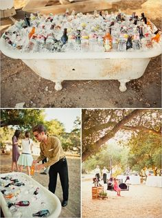 Bathtub for drinks wedding party drinks decor outdoors country party ideas