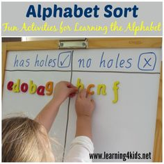Alphabet Sort is a simple, fun and engaging hands-on literacy activity children can play to help them learn and recognise letters. Learning the letter sound first and then the letter name are important for reading and writing development. Alphabet Activities, Language Activities, Literacy Activities, Literacy Centers, Toddler Activities, Teaching Letters, Preschool Letters, Kindergarten Literacy, Preschool Learning