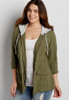 linen jacket with french terry hood (original price, $49.00) available at #Maurices