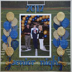 Senior Night 2012 *Scrappin Sports & More* - Scrapbooking Senior Scrapbook Ideas, School Scrapbook Layouts, Graduation Scrapbook, Scrapbook Sketches, Scrapbooking Layouts, Scrapbook Cards, Picture Scrapbook, Scrapbook Designs, Graduation Cards