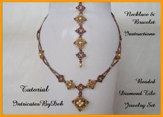 Tutorial Beaded Diamond Tile Jewelry with Pearls and Bicones - Necklace & Bracelet Pattern, Beadweaving Instructions, PDF, DIY, How To