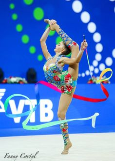 Arina AVERINA (Russia) ~ Ribbon @ World Cup Pesaro-Italy 2017/09/03   Photographer Fanny Cortyl. Gymnastics Flexibility, Rhythmic Gymnastics, Russia World Cup, Gymnastics Photography, Artistic Gymnastics, European Championships, Contortion, World Championship, Olympic Games