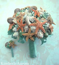 Lustrous Captiva Seashell Bridal Bouquet and Boutonnierre IN STOCK. $285.00, via Etsy.