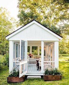 Décor: A Cosy & Inviting Connecticut Cottage Garden Cottage, Home And Garden, Garden Art, Outdoor Rooms, Outdoor Living, Patio Pergola, Screened In Gazebo, Screen House, Backyard Sheds