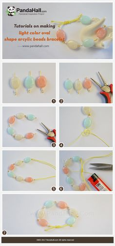 #Beebeecraft #Tutorials on making light color #oval shape #arcylicbeads #bracelet.