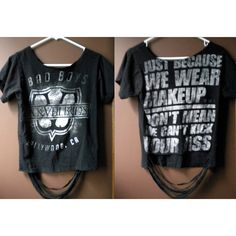 Altered Black Veil Brides Tee (small/medium) ($16) ❤ liked on Polyvore featuring tops, t-shirts, shirts, black veil brides, bvb, off the shoulder shirts, t shirts, bridal shirts, bride top and bridal tops