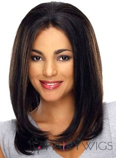 Glitter Medium Wavy Black African American Lace Wigs for Women