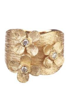 Rivka Friedman  18K Gold Clad Triple Flower Simulated Diamond Accent Ring