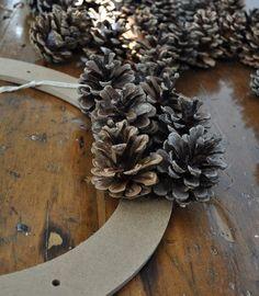Fall Pinecone Wreath tutorial  Easy base to glue onto