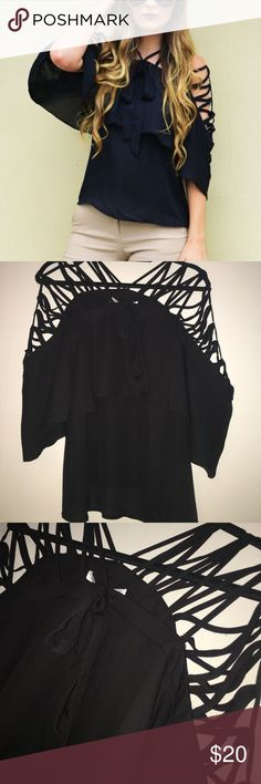"""Shop Hopes Cage Top NWT Black top from boutique Shop Hopes (brand is After Market). Cage detailing along top, has sleeves, ruffle on front and back, and has a bow on front. """"Morning Meeting Top from Hopes. Shop Hopes Tops"""