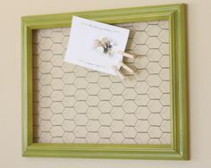 Chicken wire in frame -cute way of displaying cards, notes, etc.