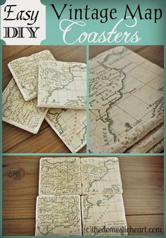 Check out this easy and creative DIY project! One Hometalker turned tiles into beautiful coasters. Cool idea to put use of the maps of places you've been to. Map Coasters, Photo Coasters, Map Crafts, Cute Crafts, Snow Crafts, Map Projects, Diy Projects To Try, Craft Gifts, Diy Gifts