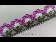 HUZUR SOKAĞI (Yaşamaya Değer Hobiler) Crochet Edging Patterns, Crochet Borders, Baby Knitting Patterns, Crochet Designs, Basic Embroidery Stitches, Creative Embroidery, Hand Embroidery, Crochet Flower Tutorial, Crochet Flowers