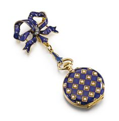 ASPREY – An 18K Yellow Gold, enamel and pearl-set open-faced pendant watch with brooch, circa 1900 • jeweled gilt lever movement, signed gold cuvette • white enamel dial, Arabic numerals, subsidiary seconds, blued steel hands • case with translucent blue enamel over an engine-turned ground, the back set with pearls in a checker-board design • cuvette and dial signed • with a yellow gold, diamond and enamel bow form brooch diameter 27.5 mm