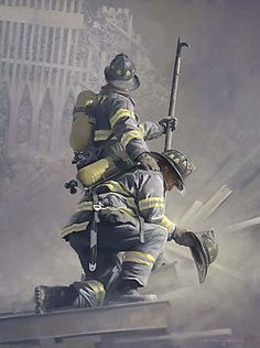 USA - 9/11, September 11, 2001, First Responders, Hero, rescue, firefighters. rubbles, NEVER FORGET, great human effort to save lives. The day the world changed. Photo.
