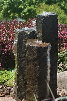 Aquascape Set of 3 Basalt Columns - Loch Ness Water Gardens Aquascape 3 Semi-Polished Stone Basalt Columns Small Water Features, Outdoor Water Features, Water Features In The Garden, Garden Features, Stone Fountains, Small Fountains, Garden Fountains, Water Fountains, Outdoor Fountains