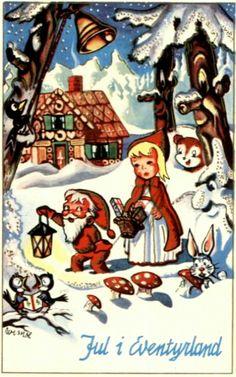 Julekort Otto Wiese Moe. Jul i Eventyrland. Utg J.H.Küenholdt Stemplet 1957
