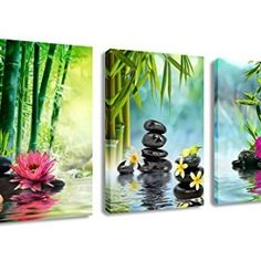 Canvas-Painting-Wall-Art-Decor-SPA-Stone-Green-Bamboo-Pink-Waterlily-and-Frangipani-Pictures-3-Panels-Modern-Zen-Canvas-Painting-Prints-Giclee-Art-for-Home-Office-and-Kitchen-Framed-Ready-to-Hang-0