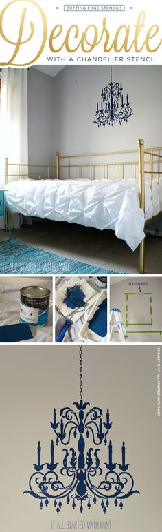 Cutting Edge Stencils shares how to DIY a stenciled Chandelier wall pattern in a bedroom. >> http://www.cuttingedgestencils.com/chandelier-stencil-decal.html?utm_source=JCG&utm_medium=Pinterest&utm_campaign=%20Chandelier%20Stencil