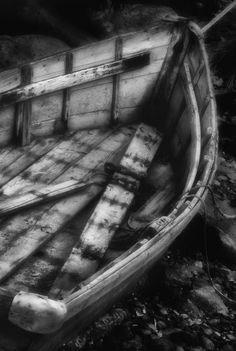 Old Boat Stonington Maine Black And White by David Smith
