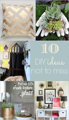 10 DIY Ideas Not to Miss. Love the little boy's room and easy DIY gold leaf pillow. Lots of great ideas!