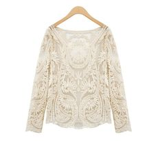 Noble Solid Color Embroidered Long Sleeved Lace Blouse For Women (BLACK,ONE SIZE) China Wholesale - Sammydress.com