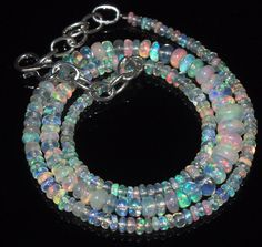 """42 Tcw 2 to 6 mm 16"""" Natural Ethiopian Welo Fire Opal Necklace ---117"""