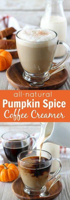 All-Natural Pumpkin Spice Coffee Creamer - A recipe for homemade pumpkin spice coffee creamer