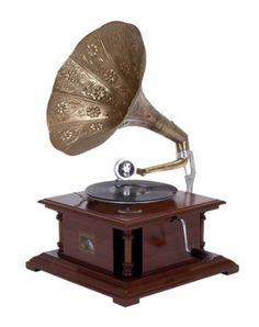 Antique Replica Dark Wood Phonograph