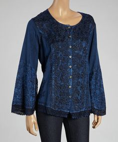 Look what I found on #zulily! Blue Embroidered Button-Up Tunic by The OM Company #zulilyfinds