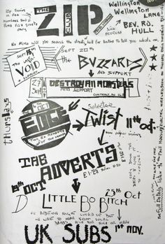 Hand-rendered poster for a series of punk gigs at the Zip Club, Hull, UK, 1979