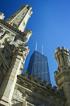 Chicago Water Tower with John Hancock Center behind.