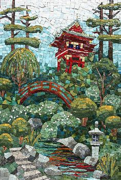 Asian Garden Mosaic by Karen Sasine
