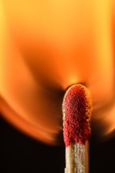 Macro photo of a match flame. I wonder how many tries it took to capture this orange glow. Love it!