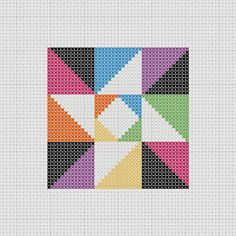 PDF pattern for a cross stitched quilt block-style sampler.  This little sampler has a big impact! Bright colors make it stand out from the crowd. It can be used as a block in a quilt or on its own as a framed piece.  Because there are only full stitches, this pattern makes a great beginner piece! PDF includes an image of what the finished piece looks like, full color pattern with symbols, and a DMC color key.  When stitched on 14-count fabric, the design measures 3 x 3. It fits perfectly in…