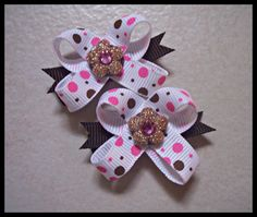 The Original SnapIn Dog Hair Bows  Pink and Brown by snapinbows, $5.99