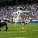 Cristiano Ronaldo taking a shot on goal.