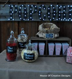 DIY marquee sign for the Outdoor Movie Night. Such a cute idea! by House of Creative Designs (Diy Outdoor Movie) Backyard Movie Theaters, Backyard Movie Nights, Outdoor Movie Nights, Movie Theater Party, Movie Night Party, Doors Movie, Outdoor Movie Party, Hollywood Birthday Parties, Party Like Gatsby