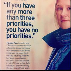 No more than 3 priorities in life