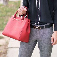 Classic gray trousers, perfect work outfit, petite fashion and style, pop of red statement handbag, Michael Kors sutton handbag, Talbots reversible belt, Hermes horsebit belt dupe, Express porfolio blouse