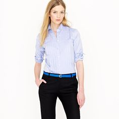 Tuxedo shirt in blue Thomas Mason® fabric. J Crew Love the entire outfit. Need skinny belts...