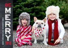 Mix it up with this 'Merry Vertical' Folded Holiday Photo Cards in Peppermint