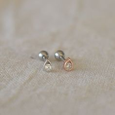 This listing is for one little drop cartilage tragus helix earring. The barbell is and long surgical stainless steel… Tragus Jewelry, Body Jewelry Piercing, Tragus Earrings, Nose Jewelry, Tragus Piercings, Dainty Earrings, Antique Earrings, Dainty Jewelry, Etsy Earrings
