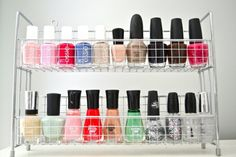 Use a spice rack to organize your nail polish! Brilliant!
