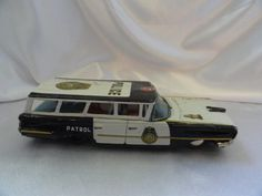 Tin Litho Long Police Car, Made in Japan, 1950s, friction toy